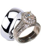 His Hers Halo Cz Wedding Ring Set Stainless Ste... - $34.64