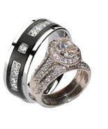 His Hers Halo Cz Wedding Ring Set Stainless Ste... - $39.99