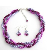Purple Plum Lilac Trio Color Twisted Pearls Nec... - $23.68