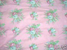 Vintage 1930s French Floral Curtain Fabric Rose... - $304.43
