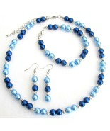 Lite Blue Dark Blue Pearl Jewelry Set With Silv... - $13.33