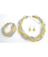 Luxurious Braid Four Strand Yellow Gray Pearls ... - $40.03