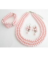 Best Bridal Jewelry Pink Pearls Three Strands N... - $27.13