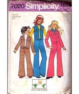 1975 JEAN, JACKET & VEST Pattern 7020-s Girl Si... - $9.99