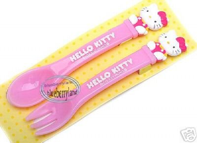 Japan HELLO KITTY Spoon & Fork set kids babies meal BB