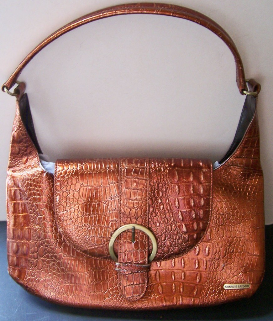 CHARLIE LAPSON COPPER CROC EMBOSSED LEATHER DESIGNER HANDBAG COLLECTIBLE PURSE