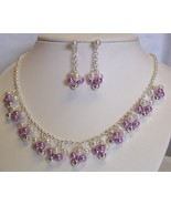 Bead Cluster Silvertone Necklace Set Pierced - $8.00