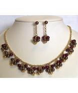 Bead Cluster Goldtone Necklace set Pierced - $4.50