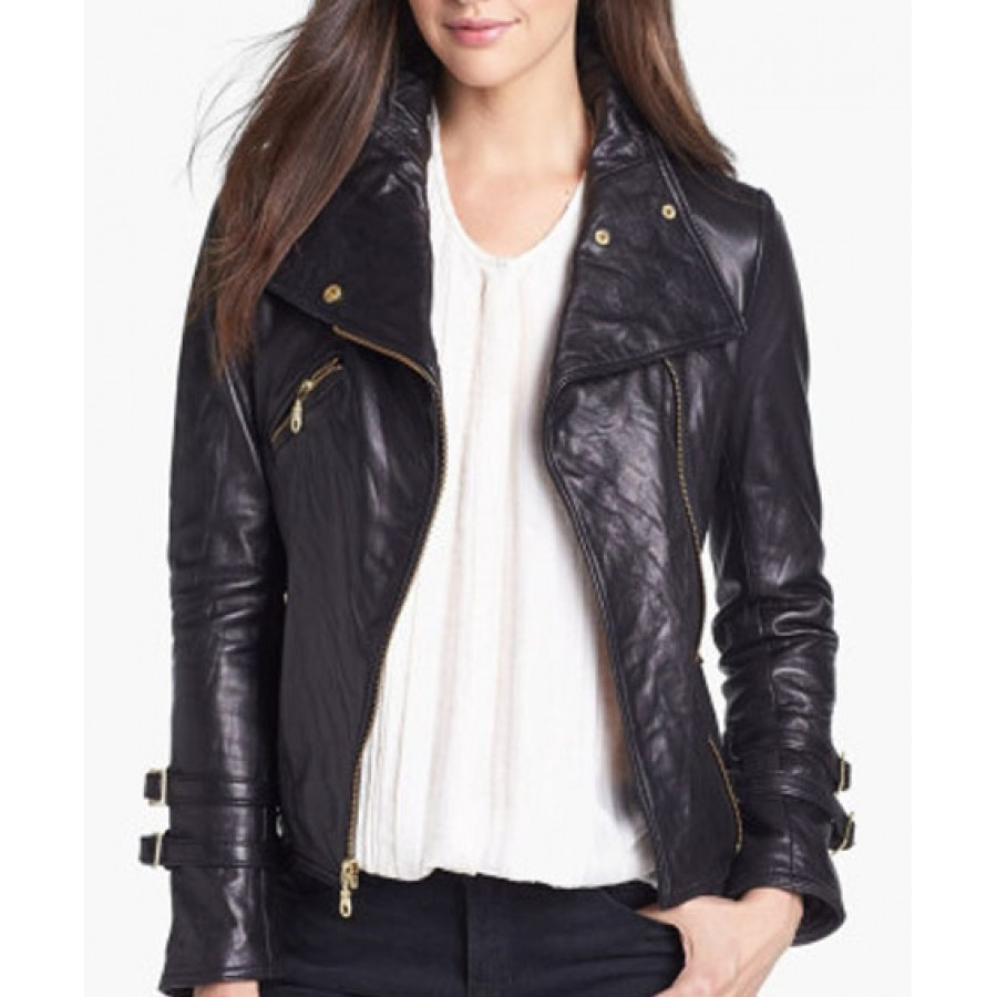 Womens Black Leather Moto Jacket Biker Jacket Women