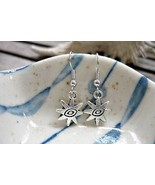 Antique Silver Double Sided The Eye Charm Earri... - $4.89