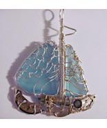 Handmade sea glass sailboat steampunk style pen... - $68.31