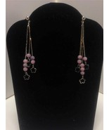 Lavender Silver Chain Flower 3 strand Earrings ... - $3.91