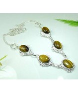 TIGER EYE SILVER NECKLACE 16.75in 5 pendants 92... - $16.50
