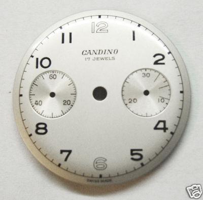 NOS Vint Candino Chrono Wristwatch Dial Venus 175 1940s