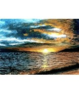 ACEO art print Sea View #44 sunset by L. Dumas - $4.99