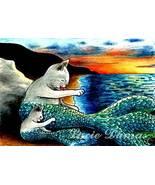 ACEO art print Cat Mermaid #9 sunset by L.Dumas - $4.99