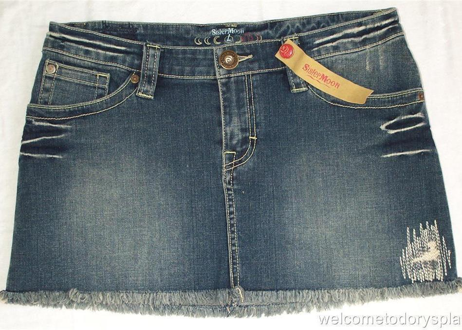 SISTERMOON Belle Demin Jean Studded Skirt Juniors L 32 Large NWT Brand New
