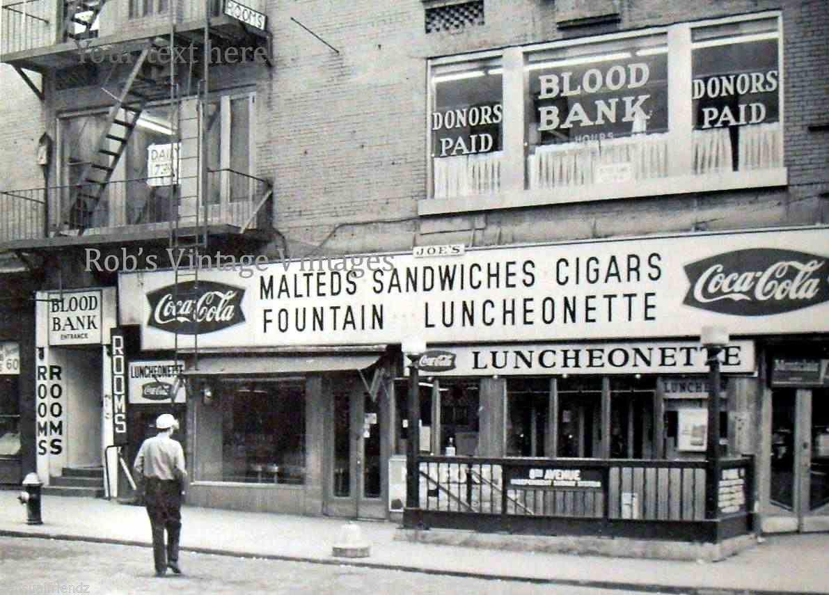 new york city coca cola 8th ave bloodbank vintage photo