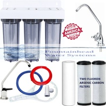 Clear Triple Under Sink Dual Fluoride/Arsenic Carbon Filters Choice Of Faucets! - $92.07
