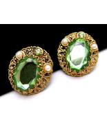 Vintage West Germany Earrings Filigree Green Rh... - $27.71