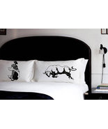 2 PILLOW FIGHTING bull vs man matador pillowcas... - $28.98