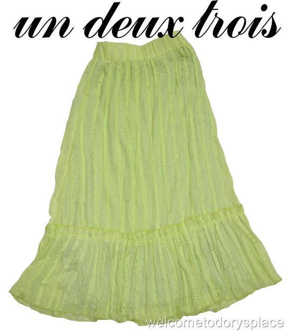 UN DEUX TROIS Girls Green Crinkle Skirt BOUTIQUE 14 16 XL BRAND NEW NWT