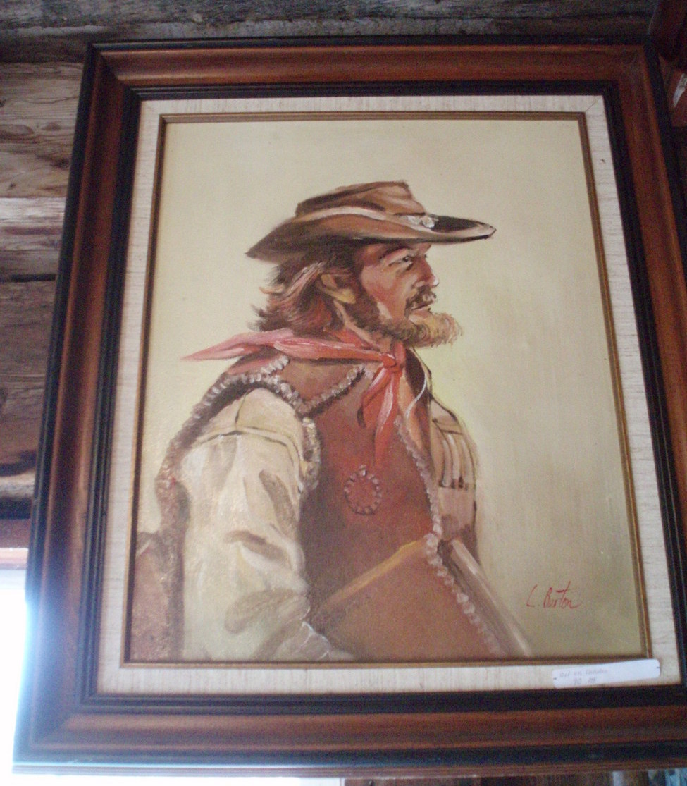 Cowboy oil on canvass L. Berton western framed painting