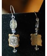 Artisan  Earrings - Silver Flower design on Bra... - $20.00