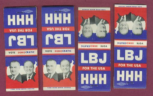 1964 Political Matchbook Covers ~ LBJ & HHH - 4 Item Lot