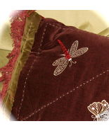 PAIR Cotton Velvet Applique Fringed Dragonfly P... - $35.00