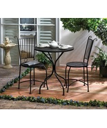 Patio Dining Table and 2 Chairs Black Metal Lat... - $125.00