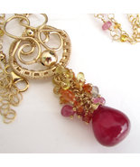 Ruby Sunset Necklace - Sapphire and Ruby Cascad... - $285.00