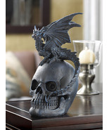 Black Dragon On Top of Skull Statue - $23.00