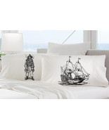 Two pillow cases PIRATE black beard and SHIP sk... - $19.99