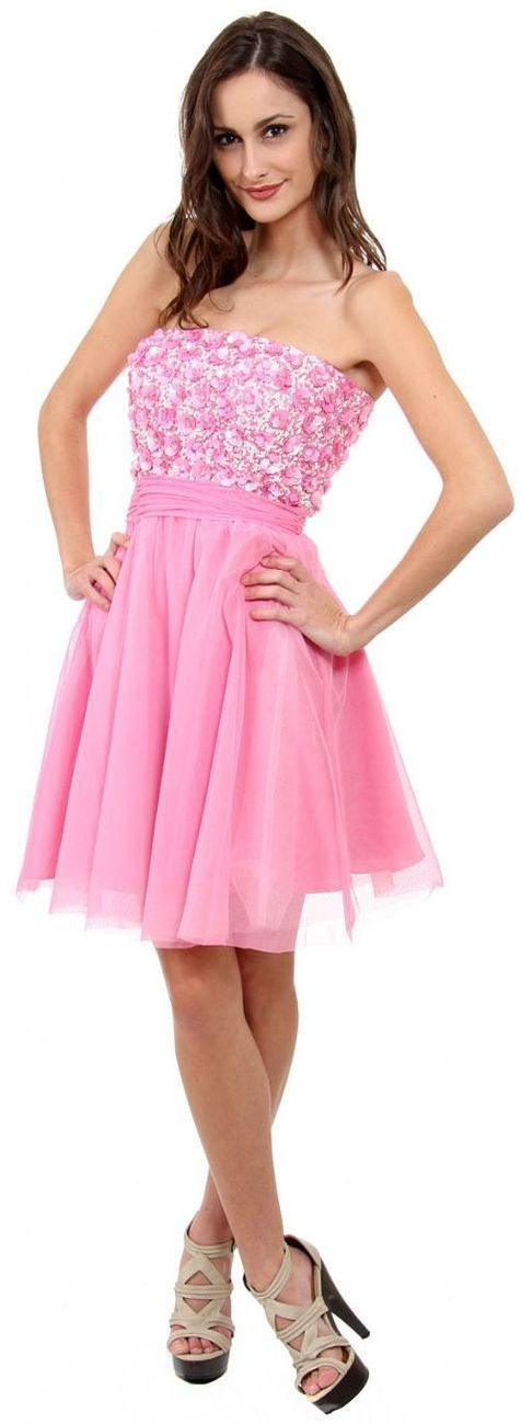 Strapless Flowered Sequined Short Dress Pink