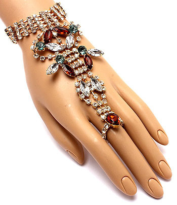 Club Wear Fashionista Colorful Crystal Hand Jewel