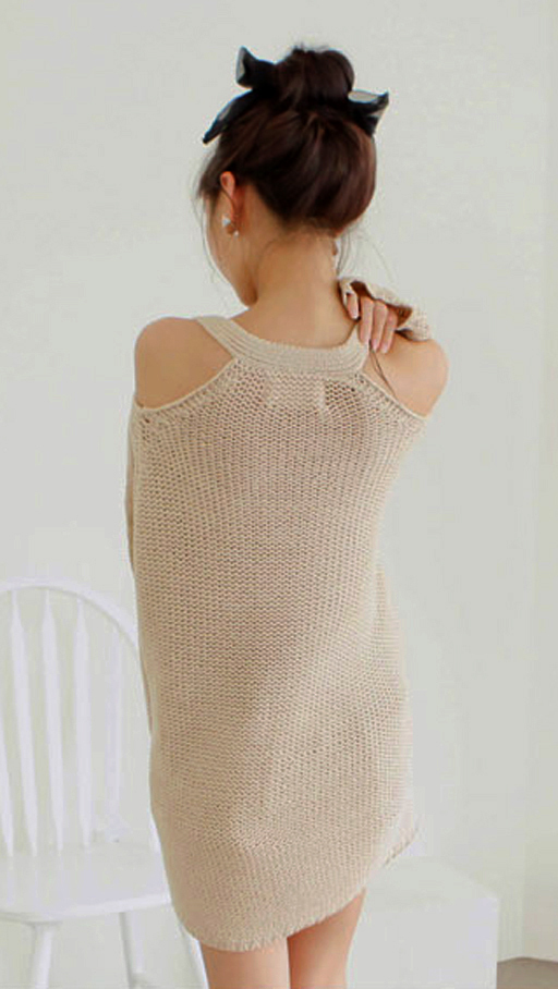 2012_autumn_winter_chunky_knit_loose_sweater_off_shoulder_back_view