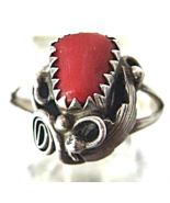 Vintage Native American Sterling Red Coral Ring... - $37.00