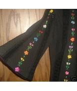 Vtg 70s BOHO Hippie Maxi lace black Dress embro... - $164.99