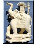 Indian Elephant Figurine carry Mahout on Tower ... - $594.38