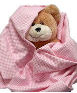 Pink Gingham Flannel Baby Blanket, handmade inf... - $12.95