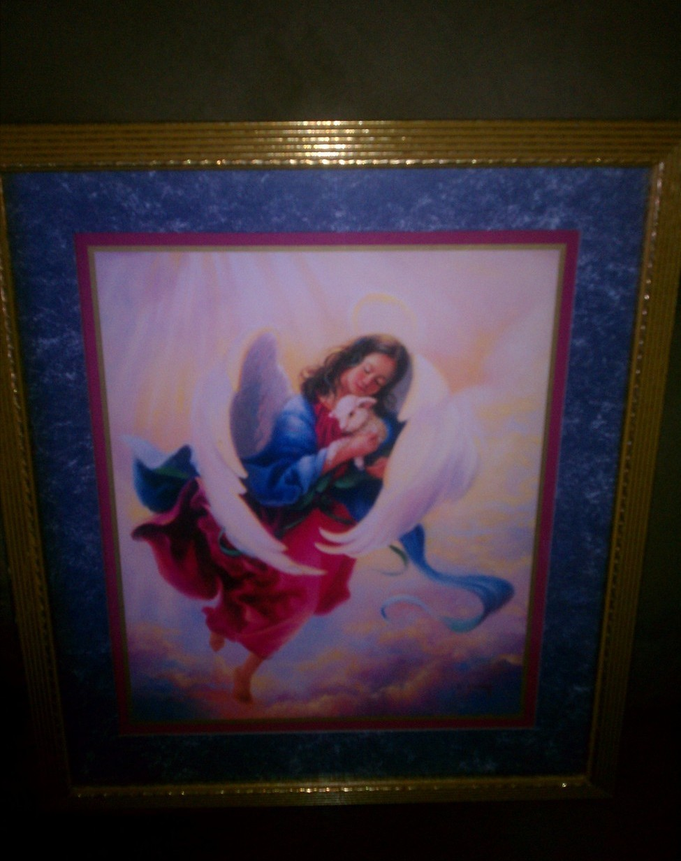 Homco Angel With Lamb Picture Home Decor