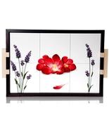 Intrada Vivere Ceramic Poppy Wood TileTray Hand... - $105.00