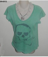 L.O.L. Vintage Green Tee with Skull and Necklac... - $9.99