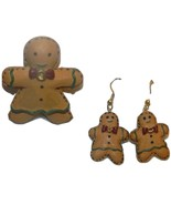 Gingerbread Man Pin and Dangle Earrings  NWOT - $6.99