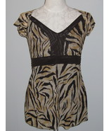 RXB  V Neck Blouse With Animal Print  Size S - $19.00