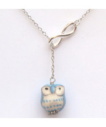 Silver Infinity Porcelain Owl Necklace Handmade... - $12.99