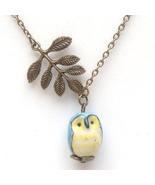 Antiqued Brass Leaf Porcelain Owl Necklace Hand... - $12.99