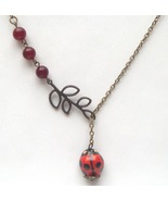 Antiqued Brass Leaf Jade Porcelain Ladybug Neck... - $12.99