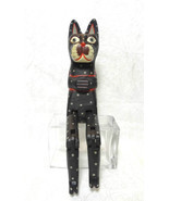 Carved Wooden Articulated Cat Hand Painted Black - $25.91